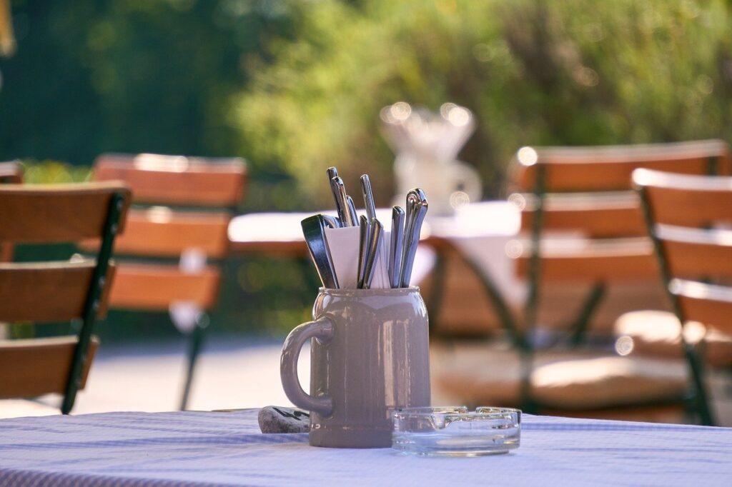 beer garden, chair, cutlery